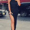 High neck slit evening bandage dress black
