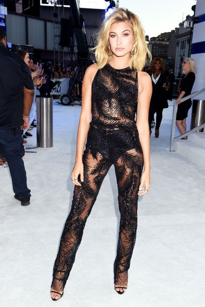 jumpsuit pants top see through hailey baldwin vma mtv black model off-duty panties shoes model celebrity mesh underwear sandals sandal heels high heel sandals black sandals giuseppe zanotti earrings black jumpsuit