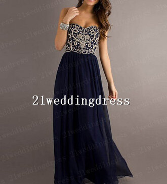 dress dark navy prom dresses chifffon dresses wedding clothes celebrity style prom dress sweetheart dress