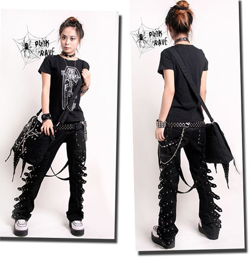Visual kei punk rave gothic japan kera buckle pantstrousers