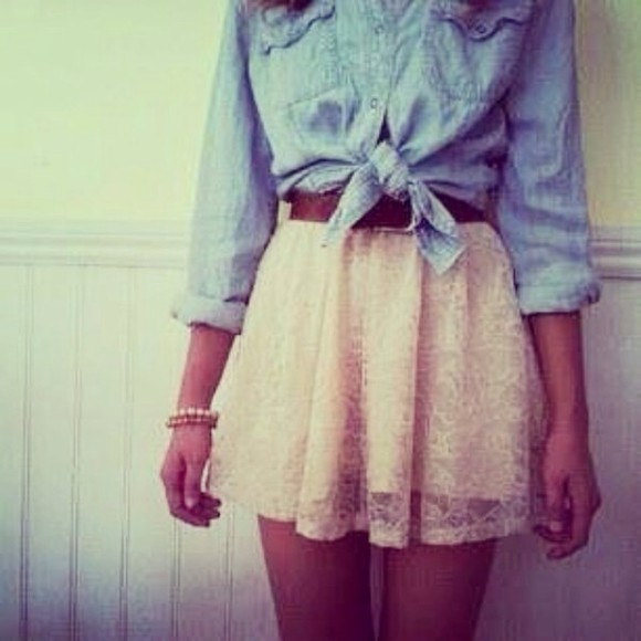 skirt belt cute short skirt blue short blouse wide skirt cute skirts pretty beige tucked in h&m zara lace brown