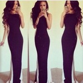 black and white,black,white,long dress,maxi dress,dress