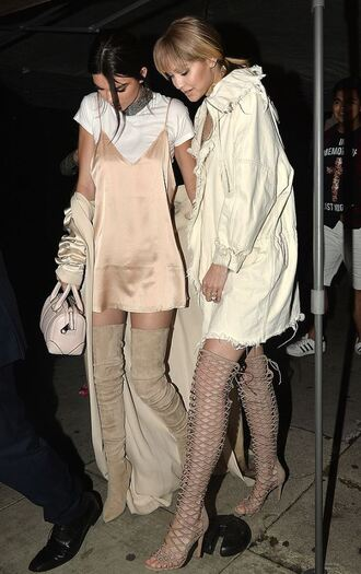 dress jacket coat duster coat kendall jenner gigi hadid model off-duty lace up heels over the knee boots gladiators knee high gladiator sandals mini dress top purse nude nude dress shoes