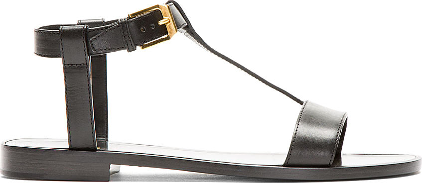 Saint Laurent - Black Leather Nu Pieds Sandals | SSENSE