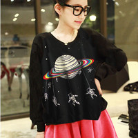 Outer space astronaut round neck long-sleeve T-shirts two colors · Sweetbox Store · Online Store Powered by Storenvy