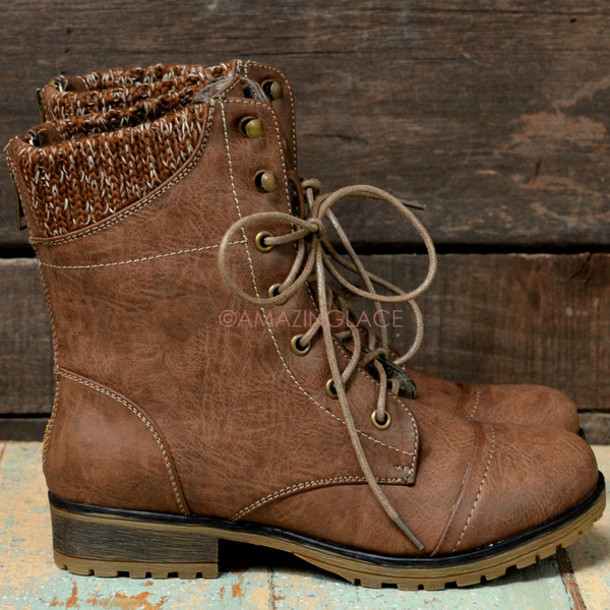 Shoes: low heel boots, fall boots, lace up boots, taupe boots ...