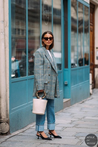 jacket blazer plaid plaid blazer oversized oversized blazer denim blue jeans shoes black shoes slingbacks jeans