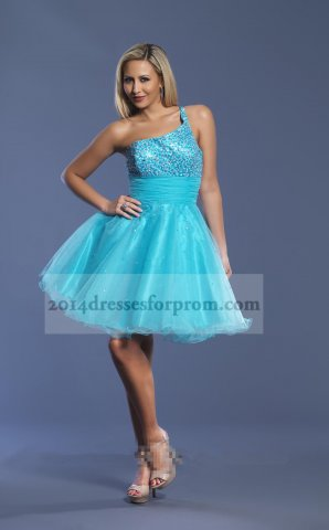Short One Shoulder Turquoise Sequins Prom Dresses 2014 [short turquoise one shoulder dress] - $125.00 : Cheap Sequin Prom Dresses2014,Online Tailored Prom Dresses Shop,Homecoming Dresses Cheap