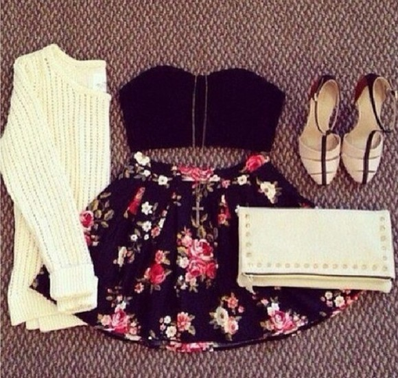 white skirt jewels sleeveless sweater floral black skirt crop tops knit sweater shoes underwear