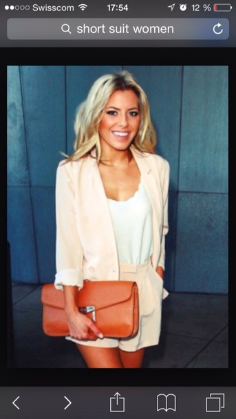 romper nude short suit matching separates jacket set two-piece twin-set