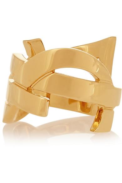 Saint Laurent|Monogramme gold-plated ring|NET-A-PORTER.COM