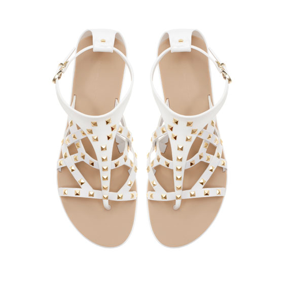 Zara Basic Flat Studded Sandal Shoes White Size 6 5 Spring Summer 2013 | eBay