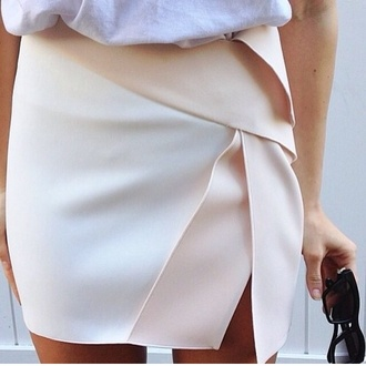 skirt white beige white skirt colorblock asymmetrical asymetric cut-out sliced silk high waisted