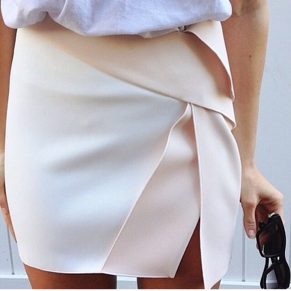 skirt white skirt asymetric skirt white asymmetric beige colorblock cut out sliced silk high waisted