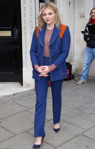 shoes pumps chloe moretz suit blue pants blazer top denim jacket studded shoes cutesyoriginals
