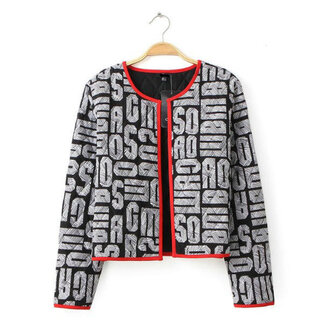 jacket fall outfits letters print open front jacket non button grey jacket