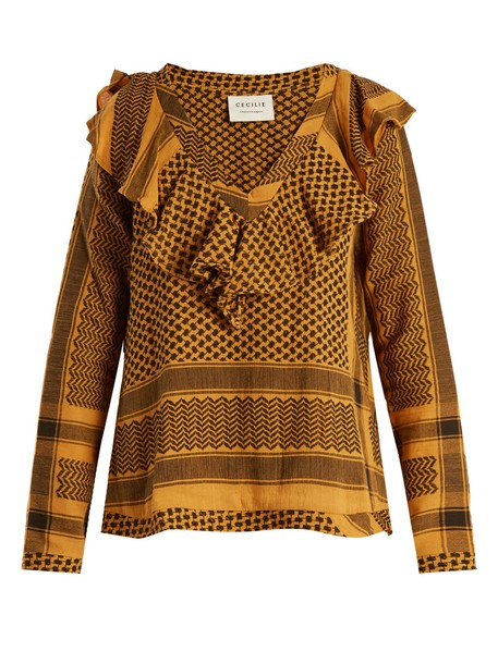 CECILIE COPENHAGEN top jacquard cotton dark yellow