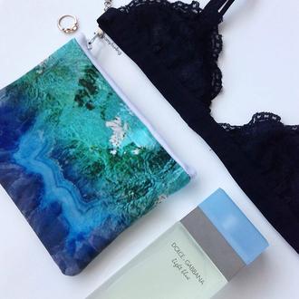 bag clutch purse pouch blue marble pencil case makeup case handbag makeup bag