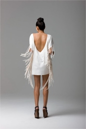 dress,white,white dress,new year's eve,open back,open backed dress,fringed dress,fringes,off-white dress,mini dress
