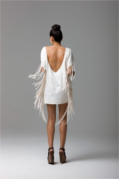 dress white white dress new years new year's new year dress open back open backed dress fringes dress fringe