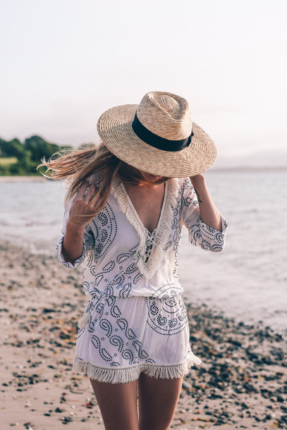prosecco and plaid blogger hat sun hat straw hat romper long sleeve romper  white romper fringes 154d91a28d6