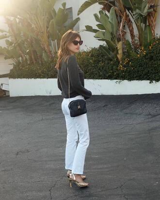 sweater gold high heel sandals jeanne damas fashionista grey sweater bag black bag jeans white jeans sandals gold sandals sunglasses black sunglasses
