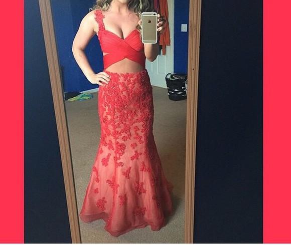 dress prom dress red dress lace dress