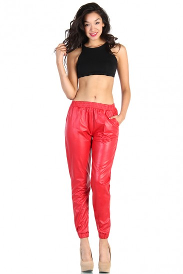 LoveMelrose.com From Harry & Molly   LEATHER TRACK PANTS - RED