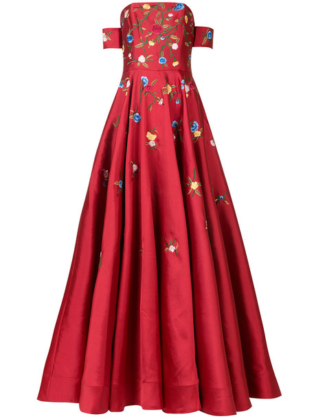 gown embroidered women floral red dress