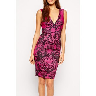 dress tribal pattern clubwear sexy dress office outfits casual hot pink hot pink dress bodycon dress