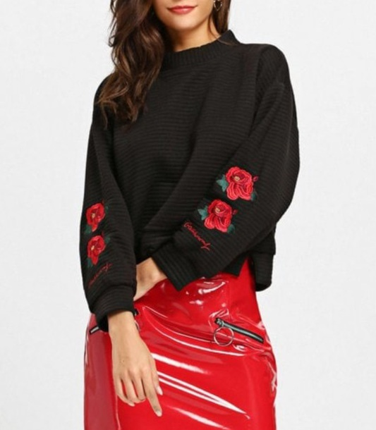 sweater embroidered girly black sweatshirt jumper rose roses rose embroidered skirt