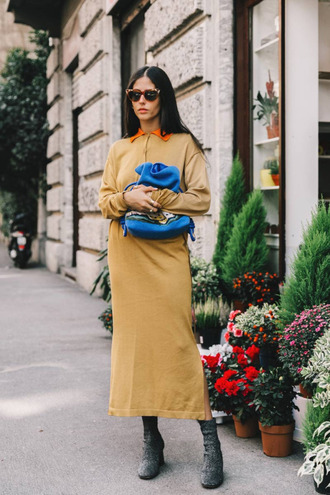 dress tumblr midi dress camel camel dress long sleeves long sleeve dress bag blue bag boots glitter shoes ankle boots silver sunglasses streetstyle fall colors fall outfits
