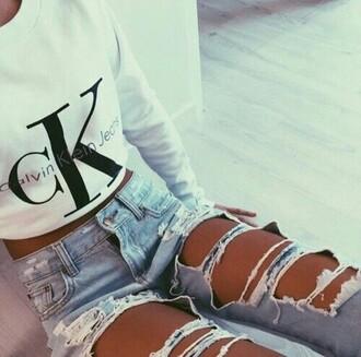 shirt jeans ripped jeans calvin klein urban sweater white calvin kline leggings