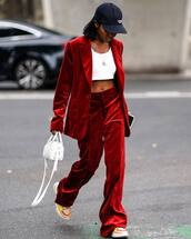 top,white crop tops,crop tops,blazer,pants,suit,red blazer,bag