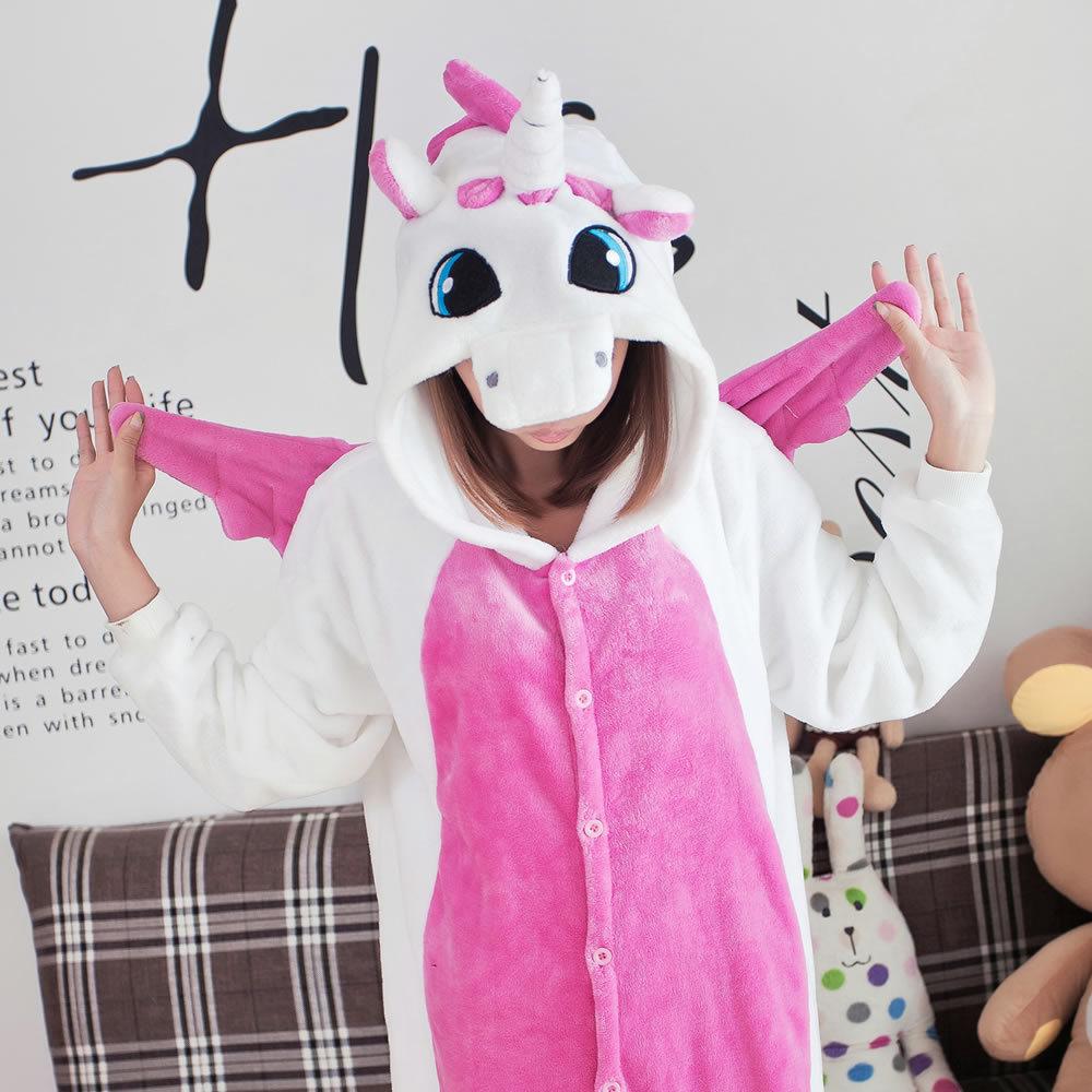 Adults Unisex Flannel Pink Unicorn Onesie Winter Hoodie Pyjamas For Women Men Cosplay Costumes Kigurumi Animal Cartoon Pajamas