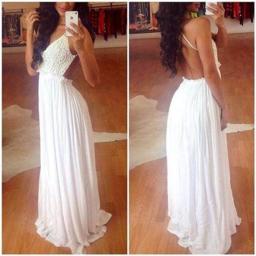 Discount 2014 New Elegant White Backless A-Line Lace Long Chiffon Prom Dresses Formal Evening Dresses Custom Made Plus Size Online with $116.18/Piece | DHgate
