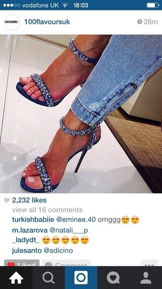 shoes blue diamonds strap sandals heels high heels
