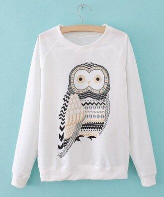 top owl pretty white long sleeves