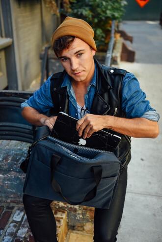 scout sixteen menswear blogger bag mens leather jacket mens shirt mens bag mens holdall