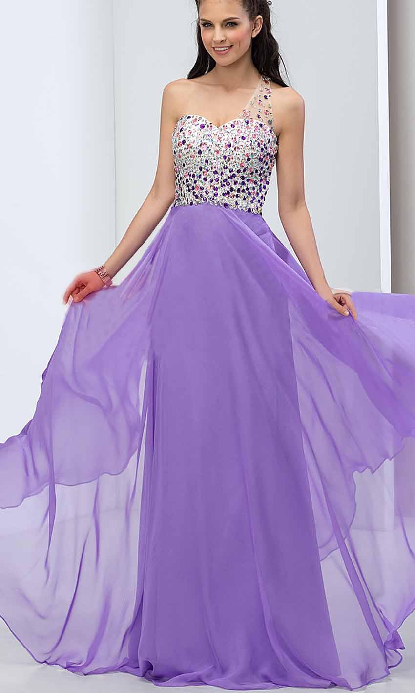 Purple Jeweled Lace One Shoulder Long Prom Dresses UK KSP393 [KSP393 ...
