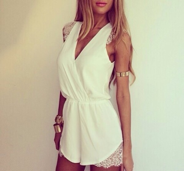 jumpsuit romper white lace summer shorts