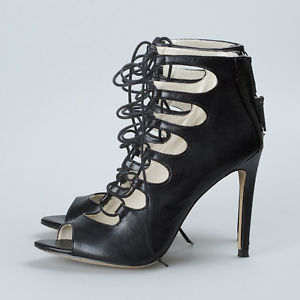 Zara BNWT Black Leather Lace Up Ankle Boot Sandals Shoe Heel | eBay