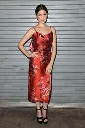 dress,midi dress,silk dress,celebrity,anna kendrick