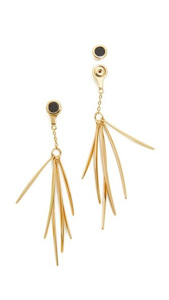 back earrings gold leather black jewels