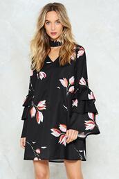 dress,floral,black dress,hipe