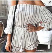 romper,girly,girl,girly wishlist,grey,white,stripes,cute,summer,summer outfits,off the shoulder,one piece