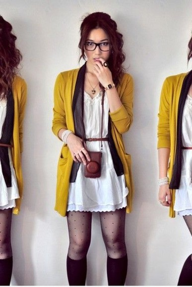cardigan dress yellow cardi warm white lace dress coat white dress cute dress cute short dress