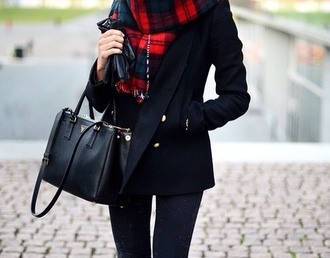 coat black short scarf bag tartan tartan scarf prada prada handbags pattern warm fall outfits
