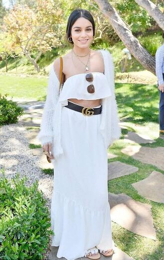 skirt top two-piece all white everything vanessa hudgens strapless cardigan spring outfits