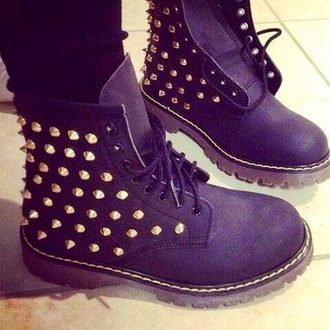 shoes black biker boots gold studded timberland